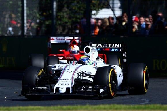 Williams de Massa, a única na corrida, debateu-se com problemas no desgaste dos pneus e terminou em quarto (Getty Images)