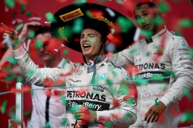 """Rosberg, o """"señor"""" do fim de semana mexicano da F1. De sombreiro e sorridente, o alemão da Mercedes venceu depois de oito provas de jejum (Getty Images)"""