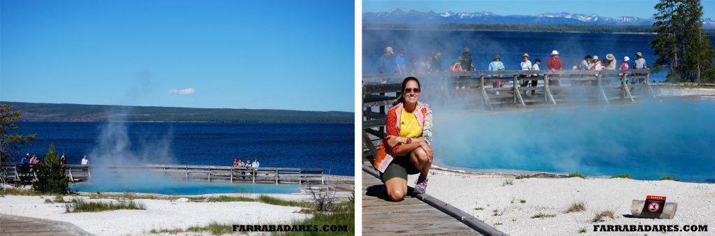 Terma de West Thumb e o Lago de Yellowstone ao fundo