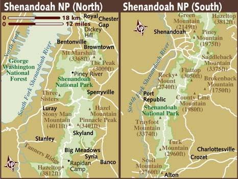 Shenandoah National Park - mapa