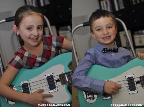 Eliana e Liam aprendendo a tocar baixo