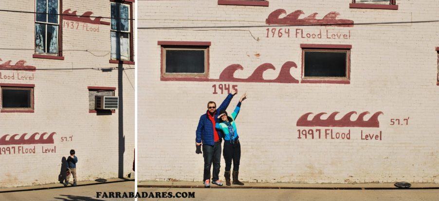 Marca das inundações em Milton, Kentucky. Reparem que a pior foi em 1937