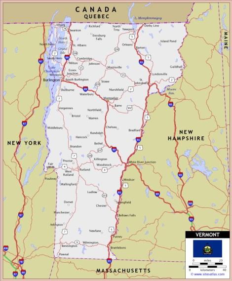 Mapa de Vermont