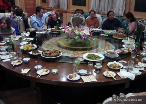 A traditional Chinese banquet with a lazy suzan