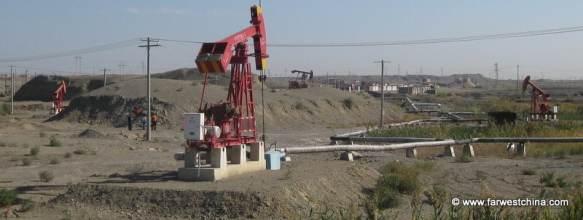 Oil rigs in the Xinjiang, China desert