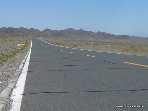 A long desert highway in Xinjiang, China