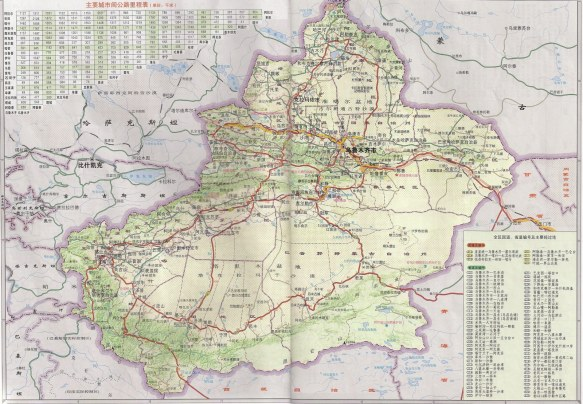 A Xinjiang Road map in Chinese