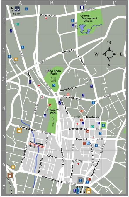 A map of Urumqi in English