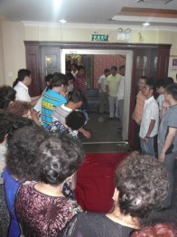 The red silk laid out in front of the entrance