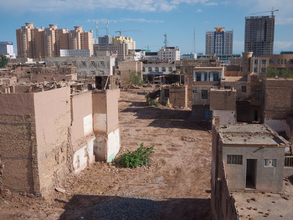 A higher view of the Kashgar Old City demolition