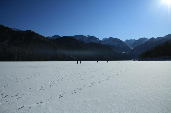 """Tianchi, or """"Heavenly Lake"""" in Xinjiang, China during winter"""