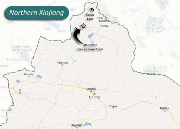 A map of Xinjiang highlighting Wucaitan and Kanas Lake
