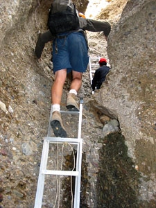 Ladders used to climb Shipton's Arch in Xinjiang
