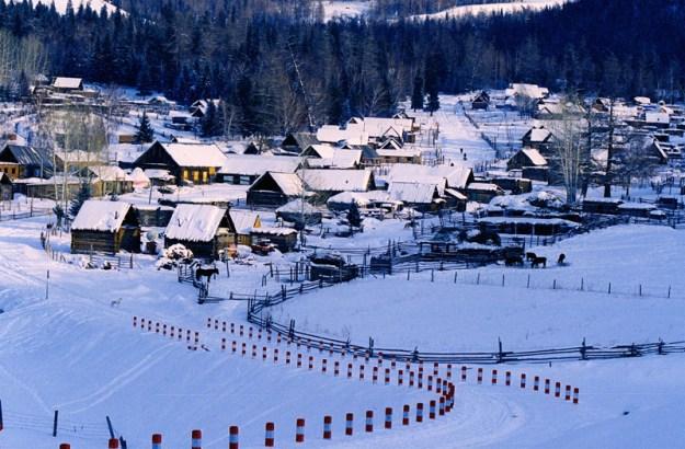 Hemu Village in norther Xinjiang in winter