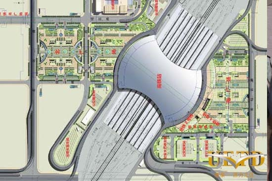 Top down view of Urumqi's new high-speed rail station in Xinjiang