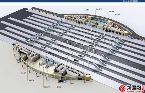 Platform level of the new Urumqi Train Station in Xinjiang