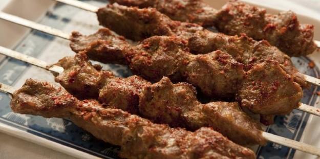 Uyghur kebabs, a staple of the Xinjiang cuisine