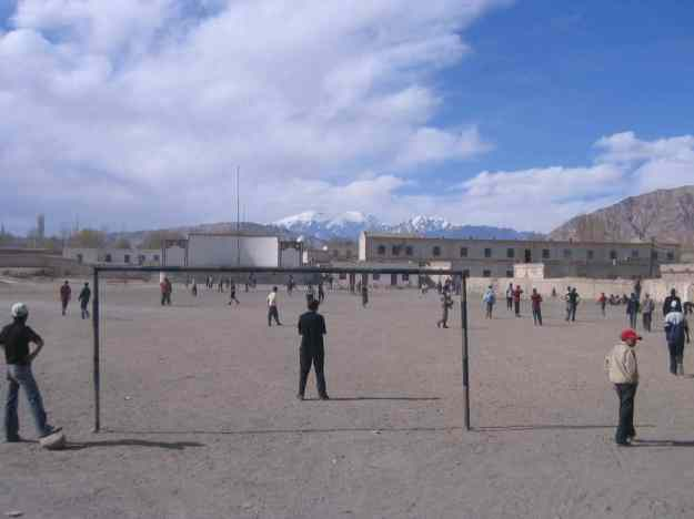 A soccer game with locals in Tashkorgan, Xinjiang