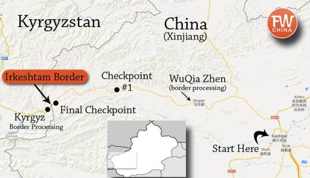 A map of how to cross the Irkeshtam border from China to Kyrgyzstan