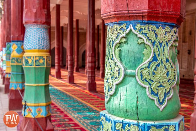 Uyghur architecture is apparent in the woodworking at Apak Khoja Mausoleum in Kashgar, Xinjiang