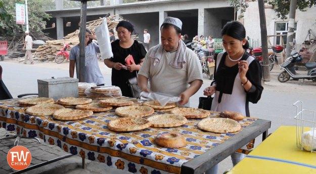A Uyghur bread stand in Turpan, Xinjiang
