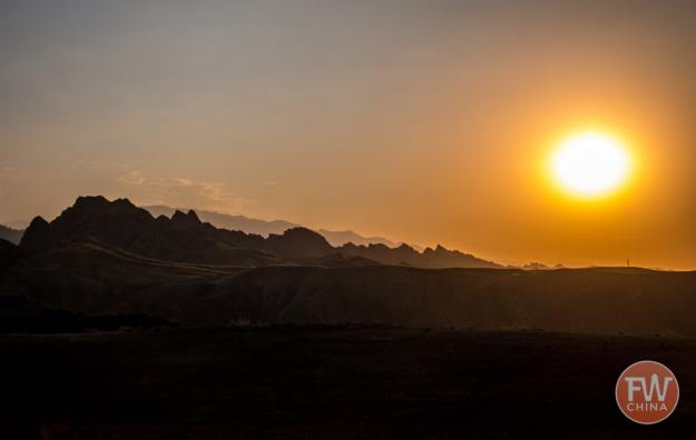 Sunset over the tianshan in Xinjiang, China