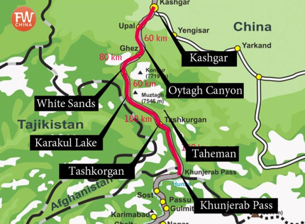A map of the Chinese side of the Karakoram Highway in Xinjiang, China