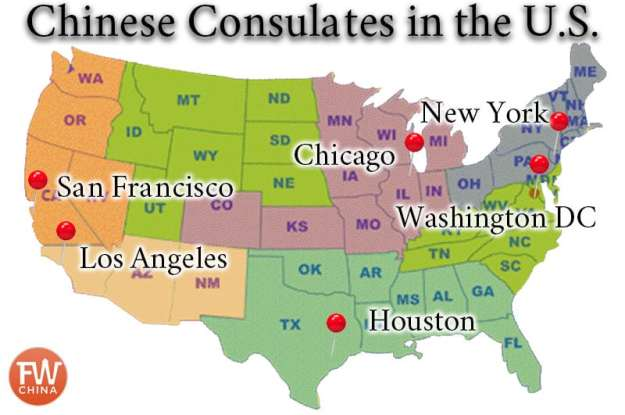 A map of the Chinese consulates in the U.S.