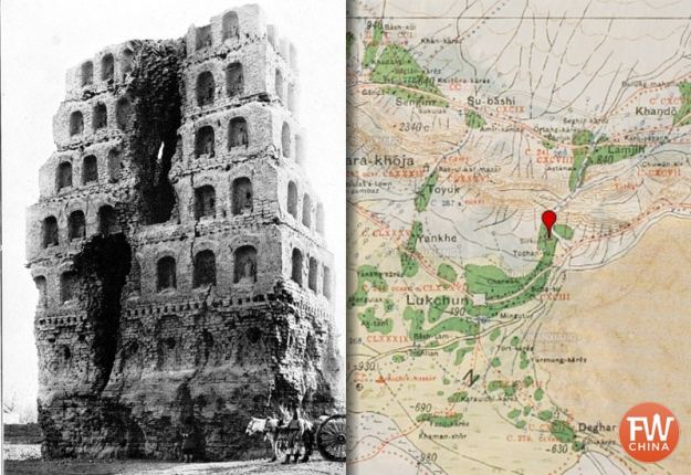 An old photo and map of Sirkip Tower by Aurel Stein