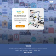 Landing page for Genius Plaza website - showcasing the resources bank