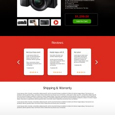 Mock up for product page of digital camera website