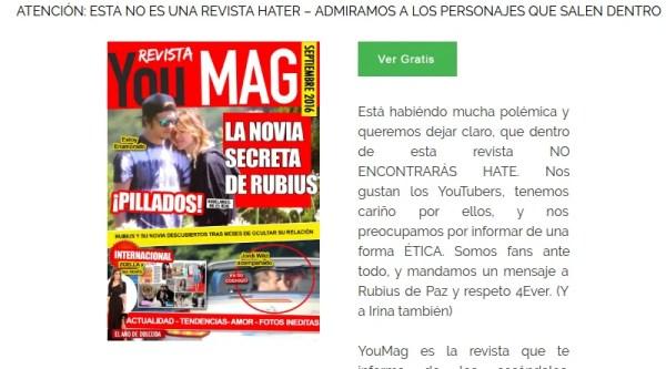 d0c1f653a En la portada del primer número nos encontramos con un reportaje sobre «la  novia secreta de Rubius»
