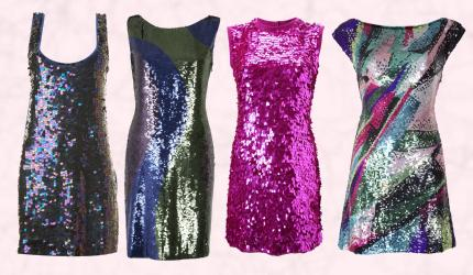 Far Left - Internacionale Purple Sequin Pailette Dress. Near Left - Matthew Williamson - Multi Colour Sequin Dress. Far Right - French Connection - Magenta Pink Sequin Dress. Near Right - Matthew Williamson New Butterfly by Matthew Williamson Collection - Multi Colour Sequin Tunic Dress.