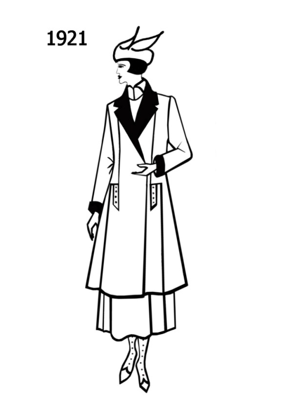 Costume History Silhouettes 1920-1921 Free Line Drawings