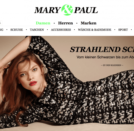 Mary & Paul Online Shop Homepage