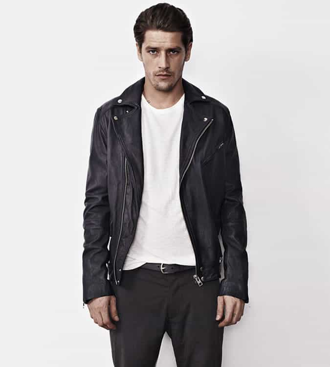 Men's Go-To Outfit Combinations - Black Biker Jacket With White T-Shirt