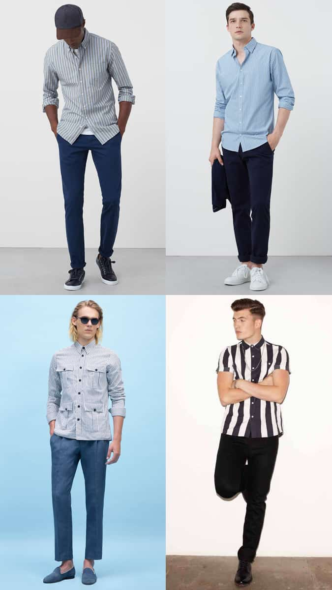 Men's Vertical Stripes Outfit Inspiration Lookbook