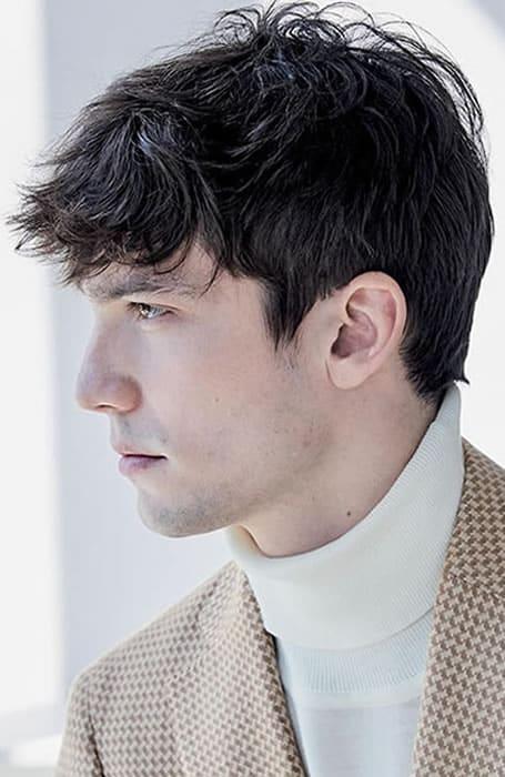 Men's Forward-Styled Fringe Hairstyle