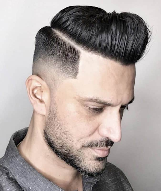 Drop Fade Haircut With Side-Parting