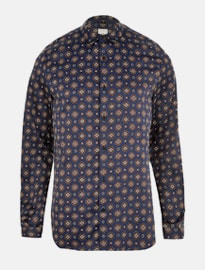 River Island Navy Geo Print Satin Long Sleeve Shirt
