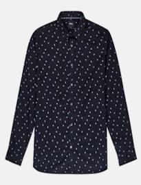 Burton Black Long Sleeve Blue Geometric Print Shirt