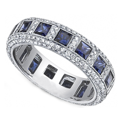Sapphire Diamond Wedding Bands Fashion Belief