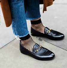 Moccasines loafer shoes, raw jeans ham, fishnet socks