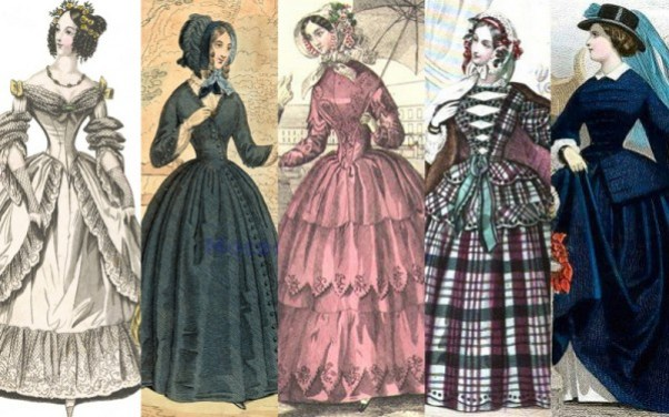 Fashion plates from 1838 to the 1850s
