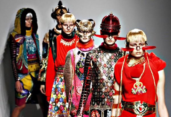 Models present creations by Indian designer Manish Arora as part