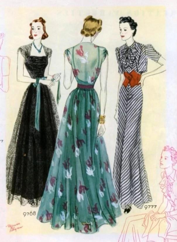 Ilustração de modelos com a moda dos anos 30