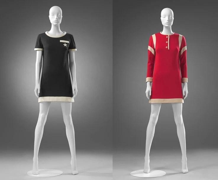 Manequins com vestido Mary Quant dos anos 60