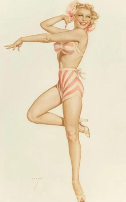 Ilustração em estilo pin-up de Alberto Vargas, 1948.