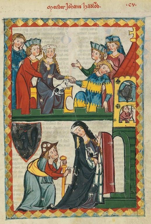 Ilustração de um livro medieval com diversas pessoas vestidas com traje gótico em duas cenas