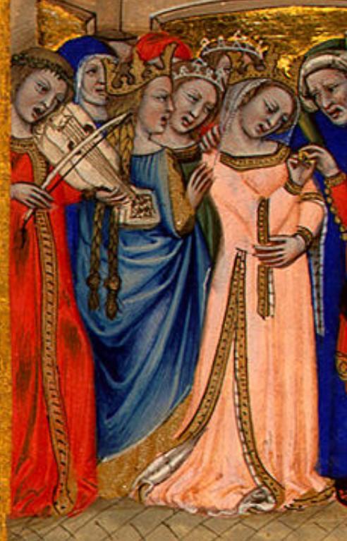 """Parte da ilustração """"O Casamento"""" de Nicolo da Bologna, onde se vê a noiva vestida de laranja rodeada por músicos e outros pessoas vestidas com traje gótico"""